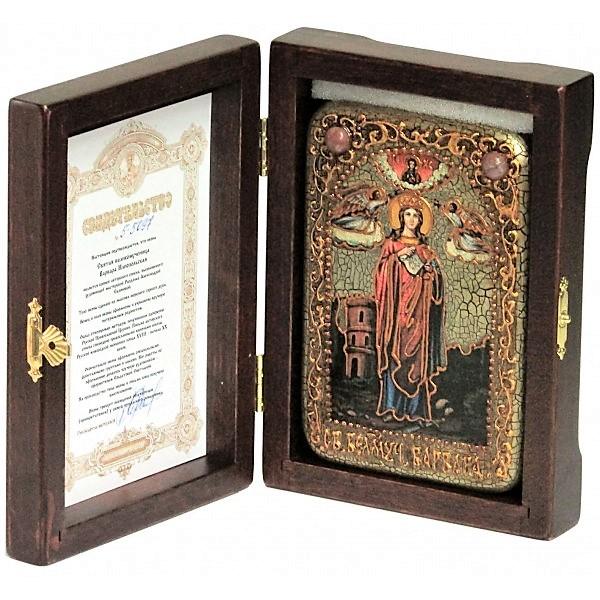 Инкрустированная рукописная икона Святая великомученица Варвара Илиопольская (10*15 см, Россия) на натуральном мореном дубе в подарочной коробке