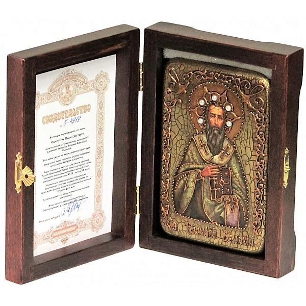 Инкрустированная настольная икона Святитель Василий Великий (10*15 см, Россия) на натуральном мореном дубе в подарочной коробке