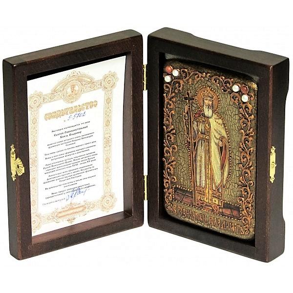 Инкрустированная настольная икона Святой равноапостольный князь Владимир (10*15 см, Россия) на натуральном мореном дубе, в подарочной коробке