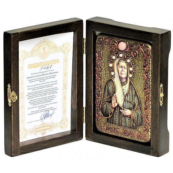 Инкрустированная рукописная икона Блаженная старица Матрона Московская (10*15 см, Россия) на натуральном мореном дубе в подарочной коробке