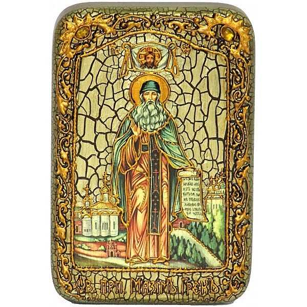 Инкрустированная настольная икона Преподобный Максим Грек (10*15 см, Россия) на натуральном мореном дубе, в подарочной коробке