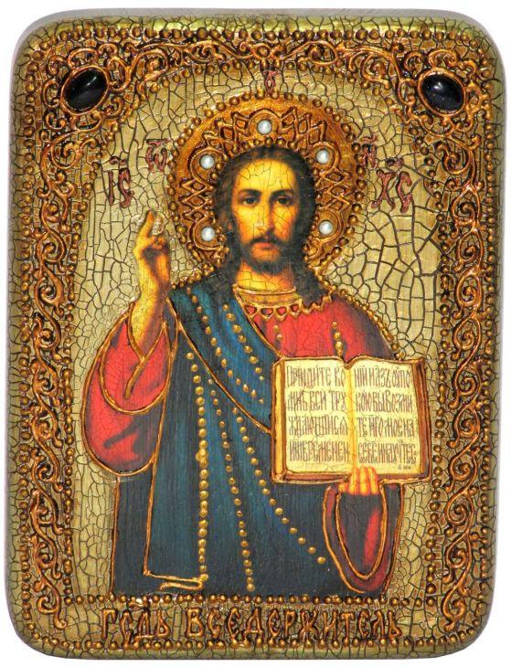Инкрустированная подарочная икона Господа Иисуса Христа (15*20 см, Россия) на натуральном мореном дубе в подарочной коробке