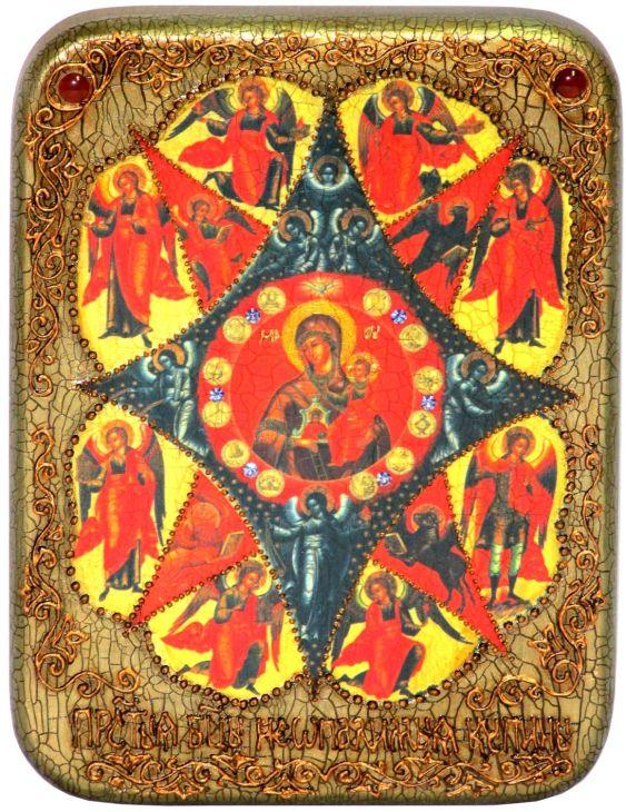 Инкрустированная подарочная икона Образ Божией Матери Неопалимая купина (15*20 см, Россия) на натуральном мореном дубе в подарочной коробке