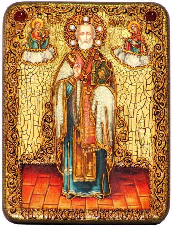 Инкрустированная подарочная икона Святитель Николай, архиепископ Мир Ликийский (Мирликийский), чудотворец (15*20 см, Россия) на натуральном мореном дубе в подарочной коробке