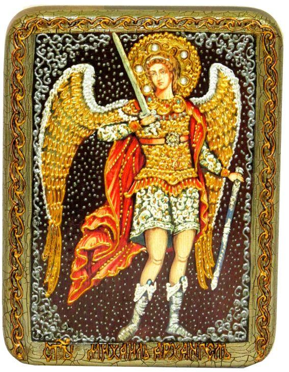 Инкрустированная подарочная икона Архангел Михаил (15*20 см, Россия) на натуральном мореном дубе в подарочной коробке