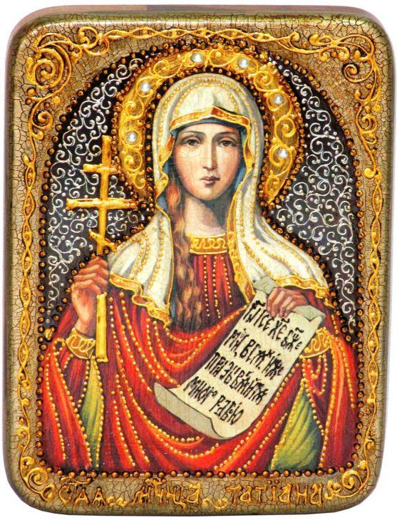 Инкрустированная подарочная икона Святая мученица Татиана (15*20 см, Россия) на натуральном мореном дубе в подарочной коробке