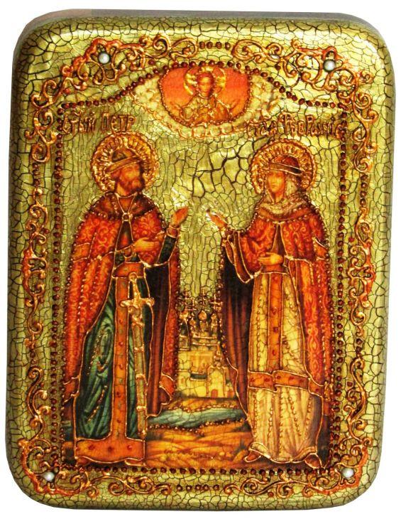 Инкрустированная рукописная икона Петр и Февронья (15*20 см, Россия) на натуральном мореном дубе в подарочной коробке