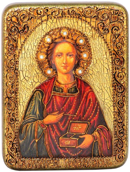 Инкрустированная подарочная икона Святой Великомученик и Целитель Пантелеймон (15*20 см, Россия) на натуральном мореном дубе в подарочной коробке