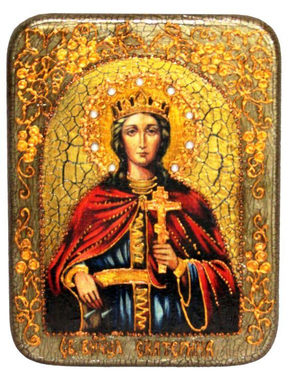 Инкрустированная подарочная икона Святая великомученица Екатерина (15*20 см, Россия) на натуральном мореном дубе в подарочной коробке