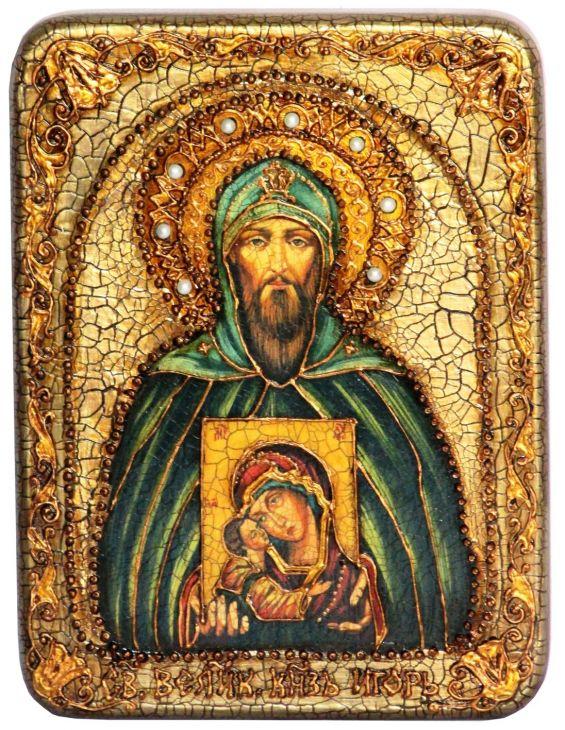 Инкрустированная подарочная икона Святой Благоверный великий князь Игорь (15*20 см, Россия) на натуральном мореном дубе в подарочной коробке