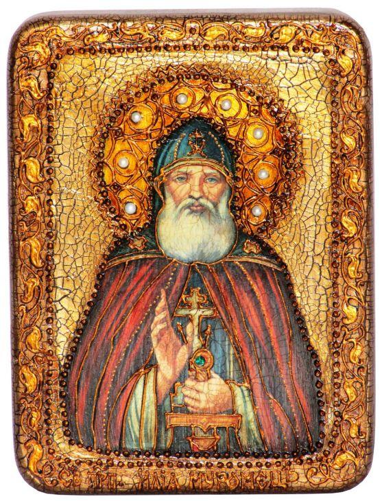Инкрустированная подарочная икона Преподобный Илия Муромец, Печерский (15*20 см, Россия) на натуральном мореном дубе в подарочной коробке