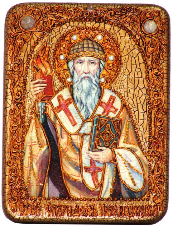 Инкрустированная подарочная икона Святитель Спиридон Тримифунтский (15*20 см, Россия) на натуральном мореном дубе в подарочной коробке