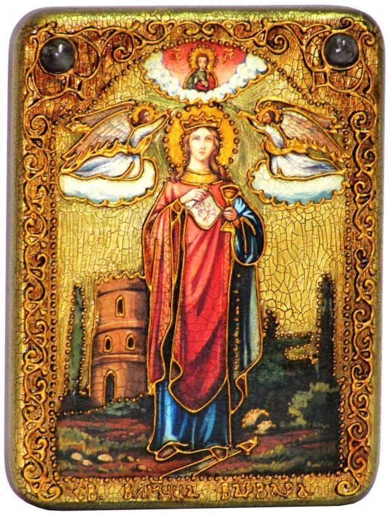 Инкрустированная рукописная икона Святая великомученица Варвара Илиопольская (15*20  см, Россия) на натуральном мореном дубе в подарочной коробке