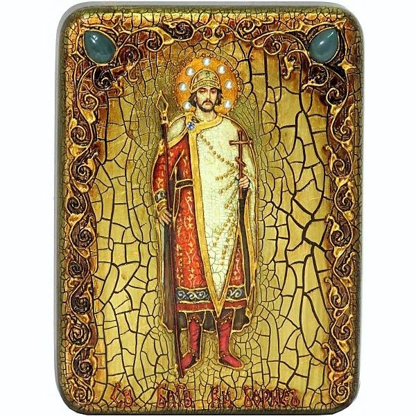 Инкрустированная подарочная икона Святой благоверный князь Борис (15*20 см, Россия) на натуральном мореном дубе, в подарочной коробке