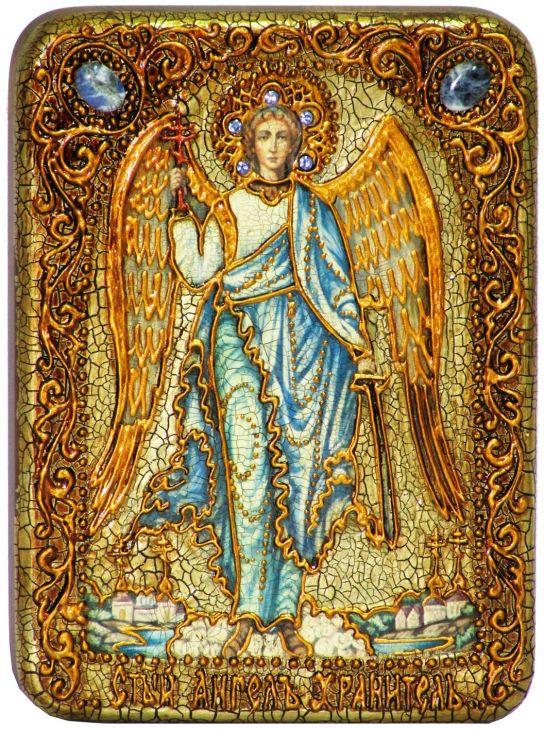 Инкрустированная подарочная икона Ангел Хранитель (15*20 см, Россия) на натуральном мореном дубе в подарочной коробке