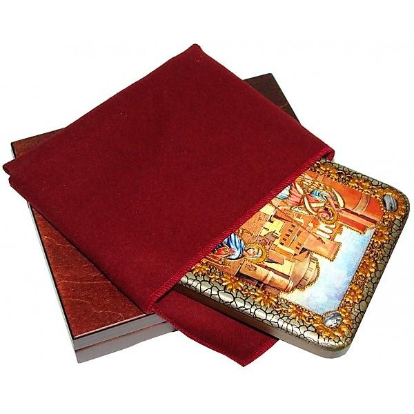 Инкрустированная рукописная икона Благовещение Пресвятой Богородицы (15*20 см, Россия) на натуральном мореном дубе, в подарочной коробке