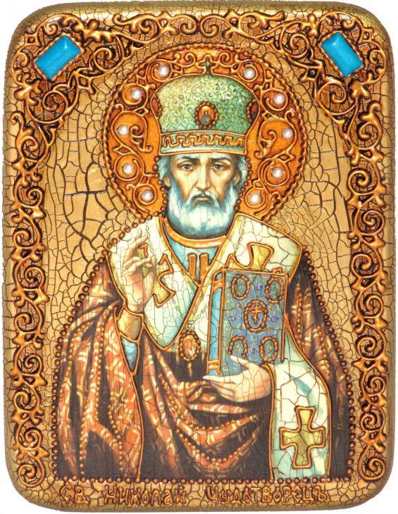 Инкрустированная икона Святитель Николай, архиепископ Мир Ликийский (Мирликийский) (15*20 см, Россия) на натуральном мореном дубе в подарочной коробке