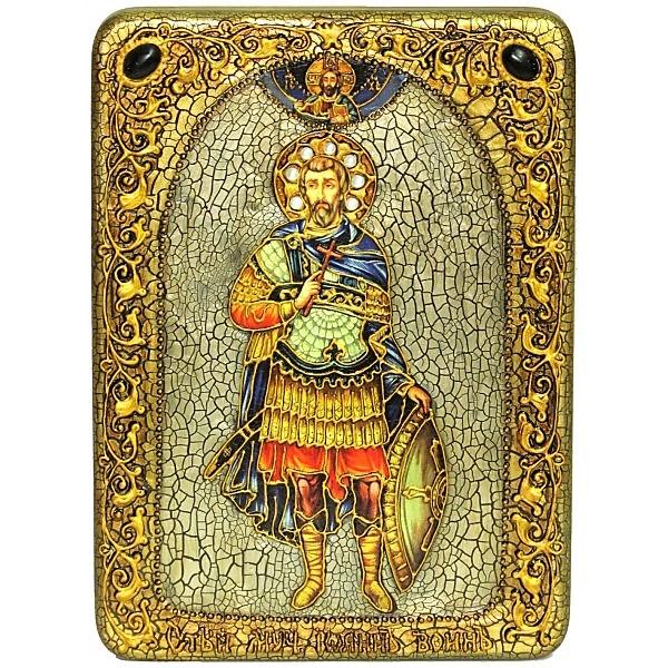 Инкрустированная аналойная икона Святой мученик Иоанн Воин (20*29 см, Россия) на натуральном мореном дубе, в подарочной коробке