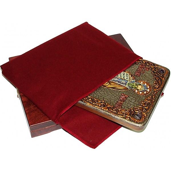 Инкрустированная икона Святой равноапостольный Кирилл Философ (21*29 см, Россия) на натуральном мореном дубе, в подарочной коробке