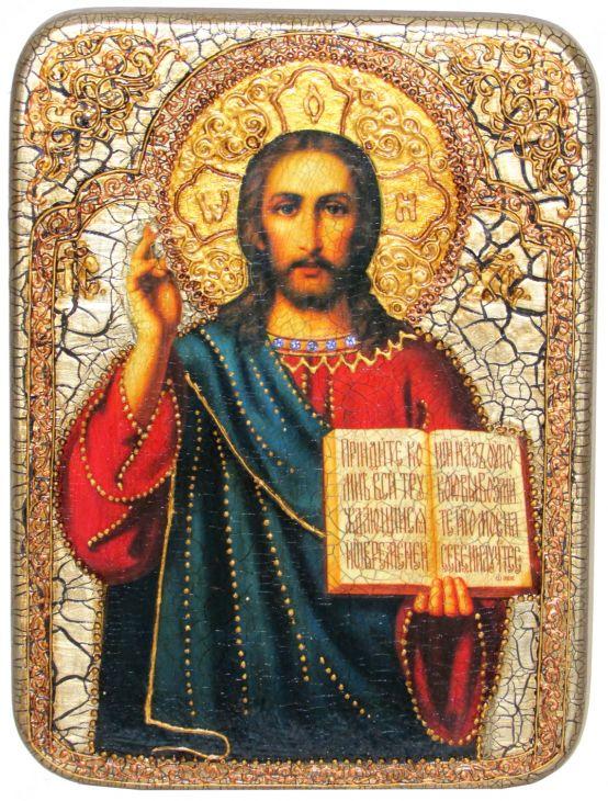 Инкрустированная аналойная икона Господа Иисуса Христа (21*29 см, Россия) на натуральном мореном дубе в подарочной коробке