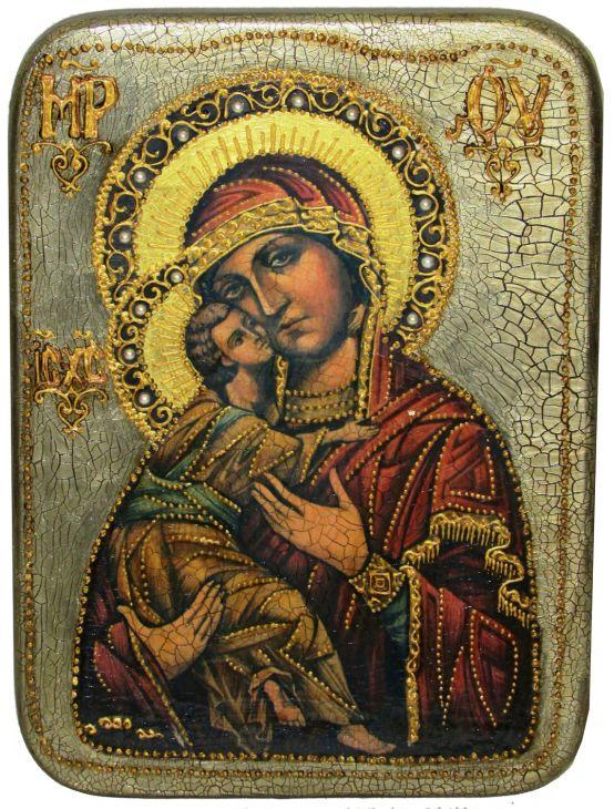 Инкрустированная аналойная икона Образ Божией Матери Владимирской (21*29 см, Россия) на натуральном мореном дубе в подарочной коробке