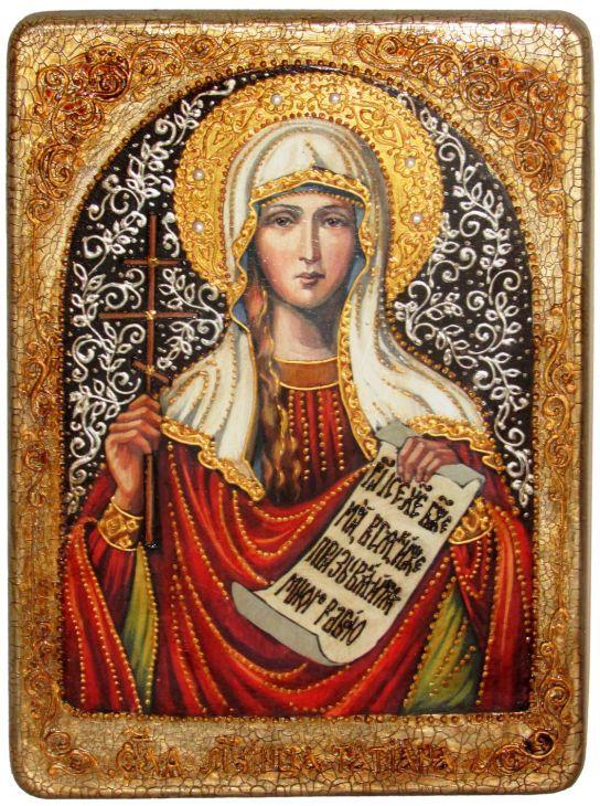 Инкрустированная аналойная икона Святая мученица Татиана (21*29 см, Россия) на натуральном мореном дубе в подарочной коробке