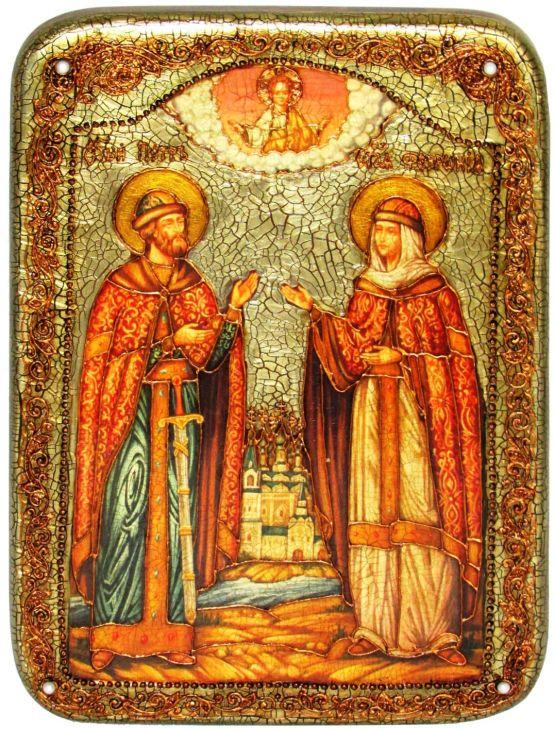 Инкрустированная рукописная икона Петр и Февронья (21*29 см, Россия) на натуральном мореном дубе в подарочной коробке