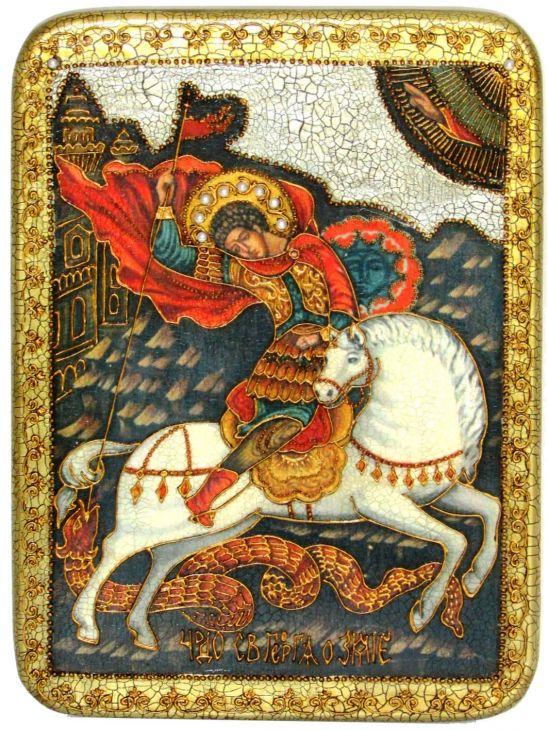 Инкрустированная аналойная икона Чудо святого Георгия о змие (21*29 см, Россия) на натуральном мореном дубе в подарочной коробке
