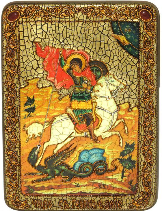 Инкрустированная подарочная икона Чудо святого Георгия о змие (21*29 см, Россия) на натуральном мореном дубе в подарочной коробке