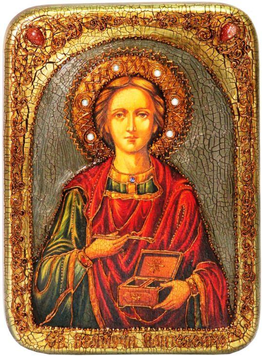 Инкрустированная аналойная икона Святой Великомученик и Целитель Пантелеймон (21*29 см, Россия) на натуральном мореном дубе в подарочной коробке