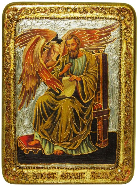 Инкрустированная аналойная икона Святой апостол и евангелист Лука (21*29 см, Россия) на натуральном мореном дубе в подарочной коробке