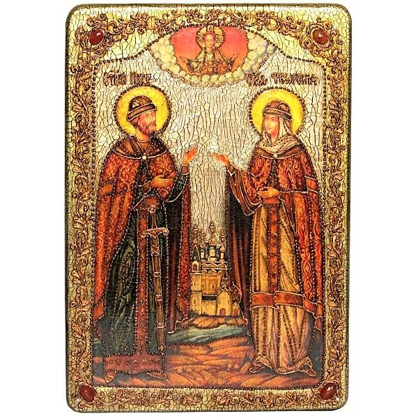 Инкрустированная рукописная икона Петр и Февронья (29*42 см, Россия) на натуральном мореном дубе в подарочной коробке