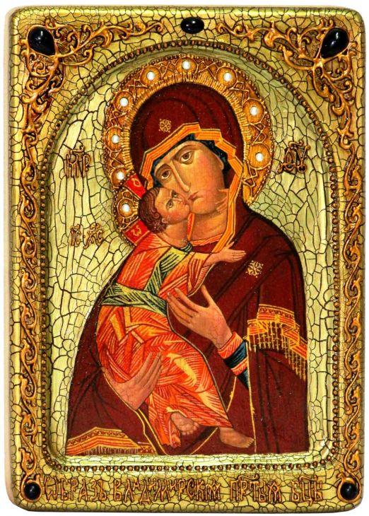 Инкрустированная Живописная икона Образ Божией Матери Владимирской (21*29 см, Россия) на натуральном кипарисе в подарочной коробке