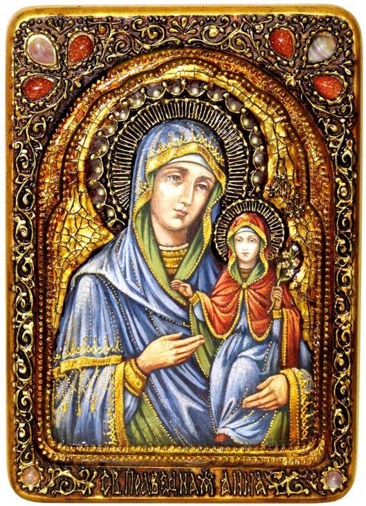 Инкрустированная Живописная икона Святая праведная Анна, мать Пресвятой Богородицы (21*29 см, Россия) на натуральном кипарисе в подарочной коробке