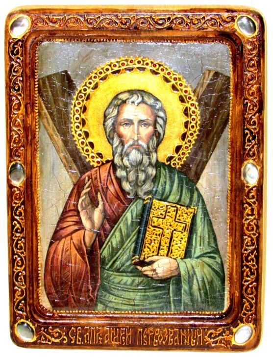 Инкрустированная Живописная икона Святой апостол Андрей Первозванный (21*29 см, Россия) на натуральном кипарисе в подарочной коробке