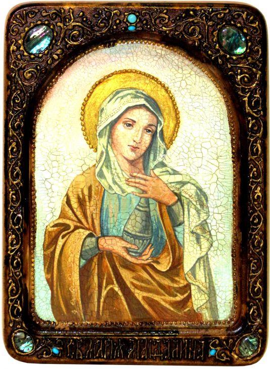 Инкрустированная Живописная икона Святая Равноапостольная Мария Магдалина (21*29 см, Россия) на натуральном кипарисе в подарочной коробке