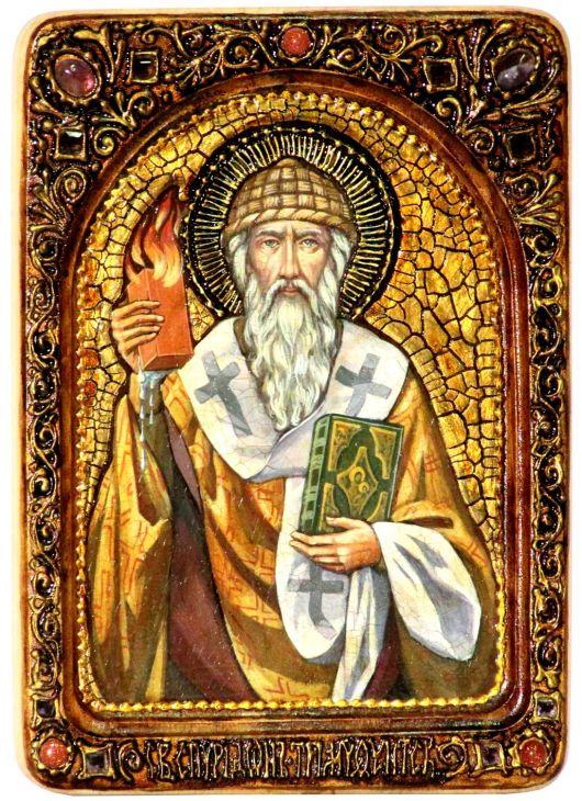Инкрустированная Живописная икона Святитель Спиридон Тримифунтский (21*29 см, Россия) на натуральном кипарисе в подарочной коробке