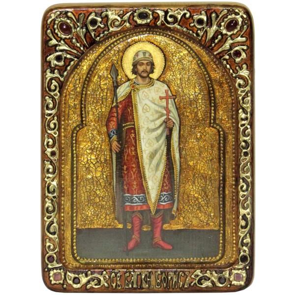 Инкрустированная Живописная икона Святой благоверный князь Борис (21*29 см, Россия) на натуральном кипарисе, в подарочной коробке