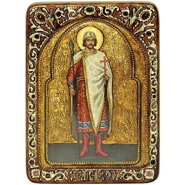 Инкрустированная Живописная икона Святой благоверный князь Борис (21*29 см, Россия) на натуральном мореном дубе, в подарочной коробке