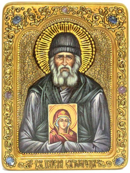 Инкрустированная Живописная икона Паисий Святогорец (21*29 см, Россия) на сакральном кипарисе в подарочной коробке