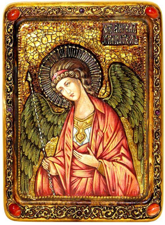 Инкрустированная Живописная икона Ангел Хранитель (21*29 см, Россия) на натуральном кипарисе в подарочной коробке