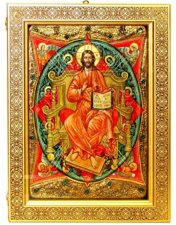 Инкрустированная Живописная икона Спас в Силах (29*42 см, Россия) на сакральном кипарисе в подарочной коробке
