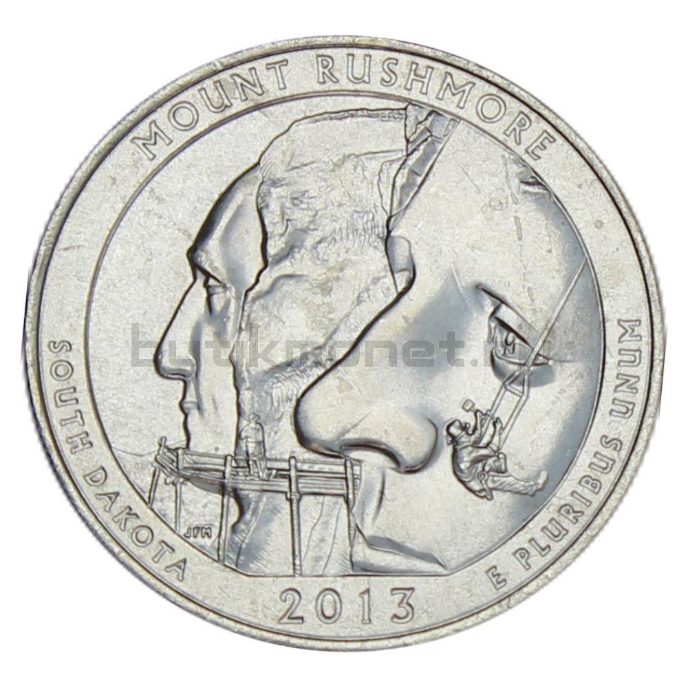 25 центов 2013 США Национальный мемориал Маунт-Рашмор P