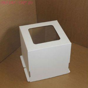 Коробка для торта, 300x300x450мм, гофрокартон, белая, с окном
