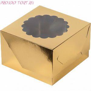 Коробка для капкейков, маффинов 4шт 160х160х110 золото с окном /50/