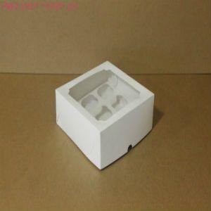 Коробка для капкейков, 160x160x100мм, на 4 капкейка, с окном
