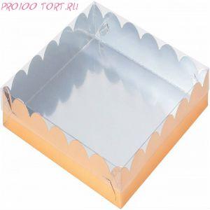Коробка для печенья, пряников 155х155х35 золото с прозрачной крышкой /50/