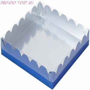 Коробка для печенья, пряников 200х200х35 синяя с прозрачной крышкой /50/
