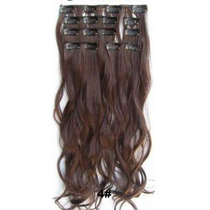 Искусственные волнистые термостойкие волосы на заколках №004 (55 см) - 7 прядей, 100 гр.