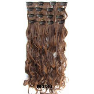Искусственные волнистые термостойкие волосы на заколках №M004/30 (55 см) - 7 прядей, 100 гр.